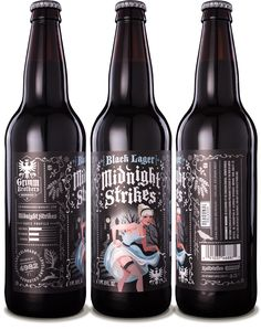 Grimm Brothers Brewhouse Midnight Strikes Black Lager - designed by Emrich Office #craftbeer #beer