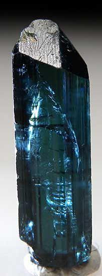 AF872 - Elbaite  Otjimbuju, Omaruru District, Namibia thumbnail - 1.7 x 1.2 x 1.0 cm -  Steeply terminated, gem quality blue Elbaite.