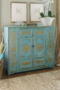 "curatedstyle: "" curatedstyleshop: St. Trophime Cabinet in French Blue and Gold """