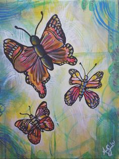 Acrylic painting of butterflies on canvas. Perfect for mommys!
