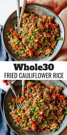 Fried Cauliflower Rice Easy compliant and paleo fried rice recipe. A new twist with cauliflower rice, veggies, and homemade asian sauce. Ready in 20 minutes. Make ahead and freeze! A healthy and fun family dinner. Easy Soup Recipes, Rice Recipes, Whole Food Recipes, Salad Recipes, Healthy Recipes, Paleo Meals, Meatless Whole 30 Recipes, Whole 30 Vegetarian, Low Calorie Vegetarian Recipes