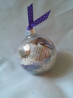 Book Christmas ornament with a purple ribbon, bookworm, book, reading, decoration, bauble, gifts for readers, 10 and under by unionmeg on Etsy