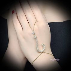 Chic Question mark Slave Bracelet Cubic Zirconia Hand Chain Ring Jewelry R1146…