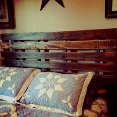 Headboard made out of a pallet found in grampa's granary!