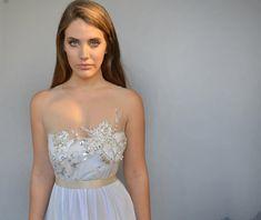 Boho wedding dress beaded embroidery open back wedding by Barzelai