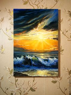 """Купить Морской пейзаж Картина маслом на холсте - """"Море в сиянии заката"""" -оранжевый, синий, желтый, картина маслом на холсте, картина маслом, картина маслом море, морской пейзаж, морской пейзаж маслом, авторская живопись, море, море живопись, морская волна, морская тема, морская тематика, филатова, филин-арт, яркая картина, картина маслом от автора, современная живопись, море картина"""