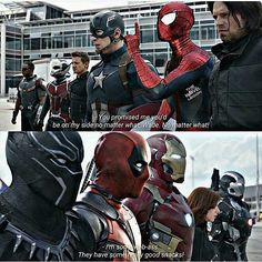 """Cap: you promised you'd be on my side Wade Wade: sorry cap you lost me at """"language!"""""""