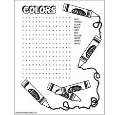 Printable Colors Word Search Craft