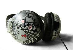 Alice in Wonderland Hand Painted Headphones in black by ketchupize, 85 euro