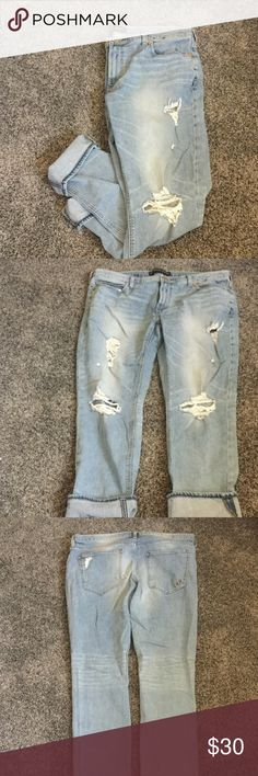 Express distressed girlfriend jeans Distressed girlfriend jeans from Express. Worn once and no longer fit. Like new. Express Jeans Ankle & Cropped