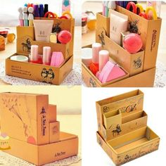 Paper Board Fairy Tale Storage Box Desk Stationery Cosmetic DIY Organizer Source by robinwinwood Diy Organizer, Cardboard Organizer, Diy Makeup Storage Box, Diy Storage, Storage Boxes, Cardboard Furniture, Cardboard Crafts, Furniture Usa, Cardboard Boxes