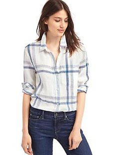 a7084f78a88 NEW GAP Womens Boyfriend Linen Blouse Shirt Stripe Red White Blue S 4 M 8 L