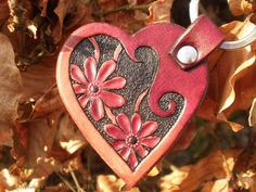 Jeweleeches Vivian Hebing handmade leather heart keychain with flowers