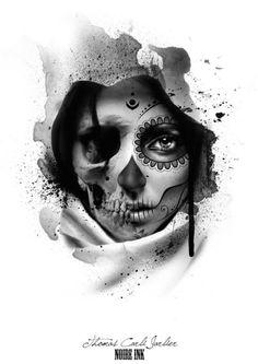 Tatuajes de catrinas, diseños, imágenes y signinicado Payasa Tattoo, Tattoo Crane, Skull Girl Tattoo, Sugar Skull Tattoos, Chicano Tattoos, Body Art Tattoos, New Tattoos, Hand Tattoos, Sleeve Tattoos