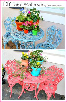 coral and blue elements of Summer iron table makeover by Fresh Idea Studio