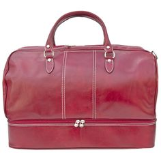 Kenneth Brownne Luxury Red Italian Leather Expandable Holdall