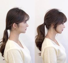 • 3) Hair만으로도 다른사람이~? 헤어스타일 전/후 : 네이버 블로그 Korean Hairstyles Women, Redhead Hairstyles, Hairstyles With Bangs, Ponytail Hairstyles, Asian Hairstyles, Men Hairstyles, Japanese Hairstyles, Korean Hairstyle Bangs, Hair Ponytail