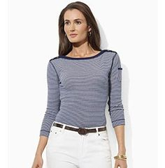 Lauren Jeans Co.® Three-Quarter-Sleeve Boatneck