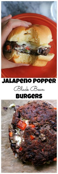 The ULTIMATE veggie burger, these jalapeno popper black bean burgers are stuffed with a roasted jalapeno-infused cream cheese that brings the heat. - Food And Drink For You Veggie Recipes, Vegetarian Recipes, Cooking Recipes, Vegetarian Barbecue, Hamburger Recipes, Vegetarian Cooking, Veggie Food, Cooking Tips, Soup Recipes