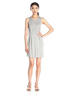 BCBGeneration Womens SidePintucked Sleeveless Dress Heathery Grey Medium ** Want to know more, click on the image.