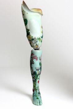 Hand Painted Porcelain Prosthetic Leg.