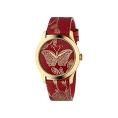 96308270d4b Gucci G-Timeless Red Butterfly Leather Strap Watch YA1264054. Red Butterfly Gucci FashionStainless Steel ...