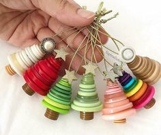 Upcycled buttons christmas tree ornaments. DIY christmas decor project for kids.
