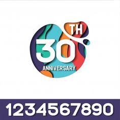 30 years anniversary papercut logo template Premium Vector 30 Year Anniversary, Anniversary Logo, Seven Logo, Graphic Design Inspiration, Logo Templates, Paper Cutting, Vector Free, Badge, Logo Design