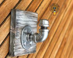 Industrial Modern Rustic Pipe Coat Rack on Wood Storage Industrial Floating Shelves, Modern Industrial, Modern Rustic, Small Space Interior Design, Interior Design Living Room, Coat Hanger, Coat Hooks, Tool Hangers, Decorative Wall Hooks