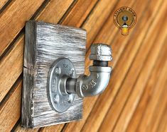 Industrial Modern Rustic Pipe Coat Rack on Wood Storage Industrial Floating Shelves, Modern Industrial, Modern Rustic, Small Space Interior Design, Interior Design Living Room, Entryway Hooks, Coat Hanger, Coat Hooks, Tool Hangers