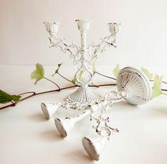 SOLD Vintage White Distressed Metal Triple Candle by BloomingGoddess, $23.50