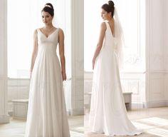White/ivory V-neck Wedding Dresses Straps Bridal Gown Wedding Gowns Chiffon Bridal Dresses Custom Size 2 4 6 8 10 12 14 16+