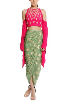 Masaba Shirts Tops and Crop Tops : Buy Masaba Pink Kalash Embellished Cold-Shoulder Blouse With Mint Heritage Fish Draped Skirt Online Dress Indian Style, Indian Dresses, Indian Wedding Outfits, Indian Outfits, Indian Attire, Indian Wear, Look Fashion, Indian Fashion, Luxury Fashion