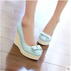 Bow Women High Heels Wedding Single Shoes 2015 Woman Wedges Wedge Casual Less Platform Pumps Sweet Multi Colored Cute - different styles of womens shoes, great womens shoes, womens shoes images Fancy Shoes, Pretty Shoes, Crazy Shoes, Mint High Heels, Light Blue Heels, High Heels Plateau, Kawaii Shoes, Shoes 2015, Frauen In High Heels