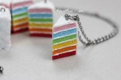 Rainbow Cake Necklace, Miniature Food Jewelry sculpted by Stephanie Kilgast, aka PetitPlat