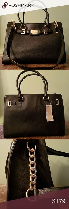 058cf20d22 MICHAEL KORS Hamilton LG Black Leather Bag Tote Michael Kors Hamilton Large  EW Black Leather Tote Bag with Gold Hardware Shoulder Strap not Removable  Style ...