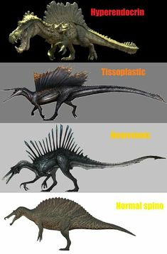 Most of the different versions of Spinos in The Isle. Can't wait for the quadrupedal! Dinosaur Sketch, Dinosaur Drawing, Dinosaur Art, Jurassic World Dinosaurs, Jurassic Park World, Spinosaurus, Creature Concept Art, Creature Design, Fantasy Creatures