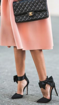 Lace & Locks Black Bow Heels And Coral Dress Fall Street Style Inspo