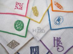 Embroidered monograms.