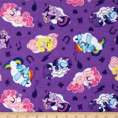 Licensed to Springs Creative Products Group, this soft, double napped flannel (brushed on both sides) flannel is perfect for quilting, apparel and home decor accents. Colors include pink, yellow, white, orange, blue and purple. This is a licensed fabric for individual use only.