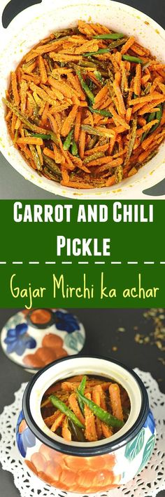 Super easy and quick Instant Carrot Chili Pickle! This crunchy and spicy pickle is prepared with fresh carrots,chilies and flavored with aromatic Indian spices. So fresh and delicious! Veg Recipes, Indian Food Recipes, Vegetarian Recipes, Cooking Recipes, Healthy Recipes, Ethnic Recipes, Recipies, Chicken Recipes, Chilli Recipes