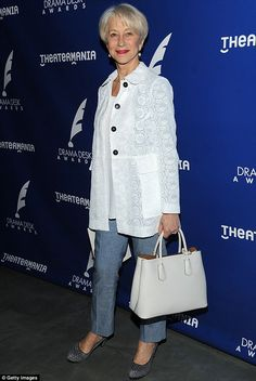The Dame wears Prada: The British actress chose a white lace blazer and top to match her white handbag Over 60 Fashion, Mature Fashion, Over 50 Womens Fashion, Fashion Over 50, Look Fashion, Cheap Fashion, Fashion Women, Mode Outfits, Casual Outfits