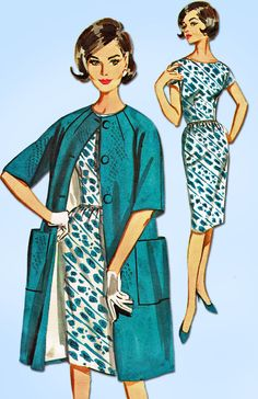 """Butterick Pattern 2183 Misses' Dress Pattern with Matching Coat Dated 1961 Complete Nice Condition 15 of 15 Pieces Counted. Verified. Guaranteed. Nice Condition Overall Size 12 (32"""" Bust)"""