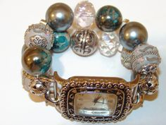 Silver and Ocean Blue Chunky Beaded Watch by BeadsnTime on Etsy