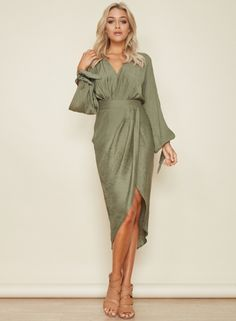 V Neck Long Sleeve Asymmetric Dress OASAP.com
