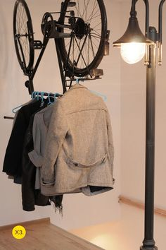 #Upcycling or Storage?  #Bike Coat Rack fun idea to do with a bike. This is what I call being creative with a bicycle
