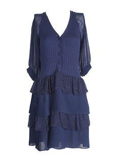 Navy Silk Half Sleeve Button Up Pokla Dot Tiered Ruffle Dress
