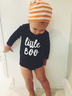 Halloween Graphic Long Sleeve Onesie and Shirt. Explore baby tshirts with funny sayings at http://www.citizenbeachapparel.com/product/little-boo-graphic-long-sleeve-onesie-and-shirt/ | Baby Stuff