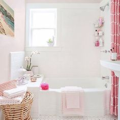 White Bathroom Fittings and Design Ideas New Pink Bathroom Ideas Take A Bath Bathroom Bathroom Interior Bad Inspiration, Bathroom Inspiration, Girl Bathroom Ideas, Bathroom Ideas White, Bath Ideas, Vintage Bathrooms, Pink Bathrooms, Luxury Bathrooms, Bathroom Colors