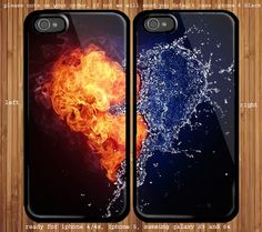 Love between fire and water Couple case for iphone and samsung